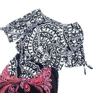 WHBM Black White Red Silk Cold Shoulder Dress